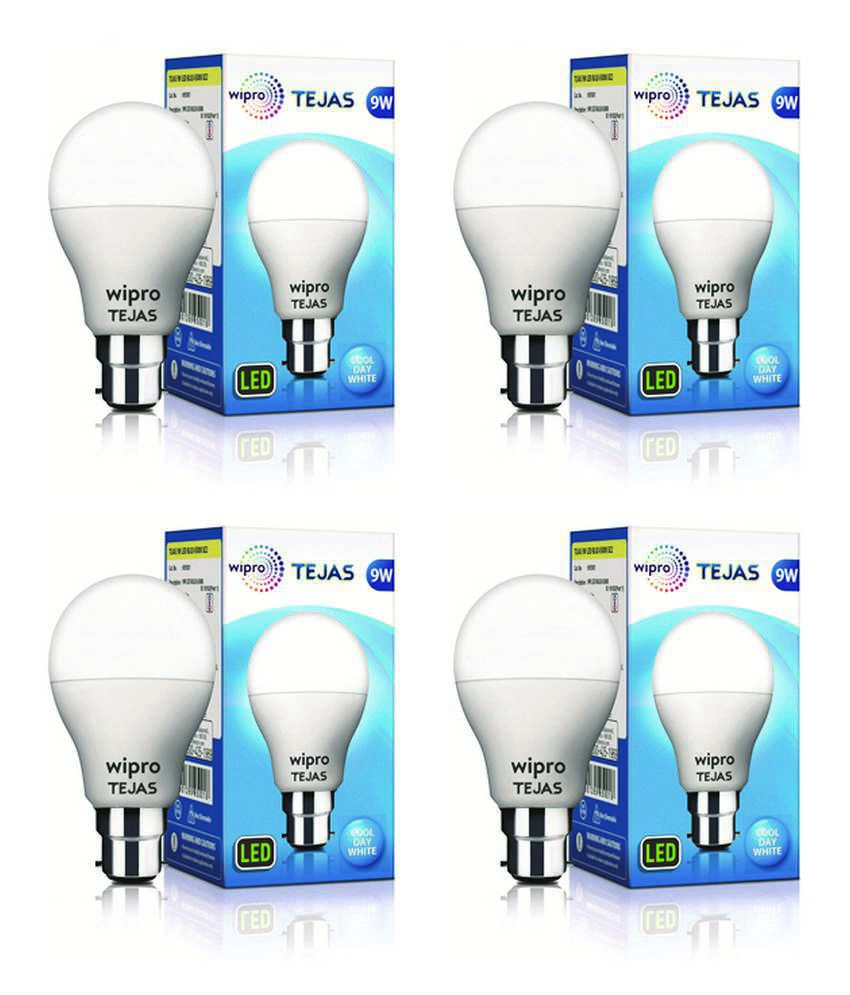 Wipro 9W LED Bulb Cool Day Light - Pack of 4