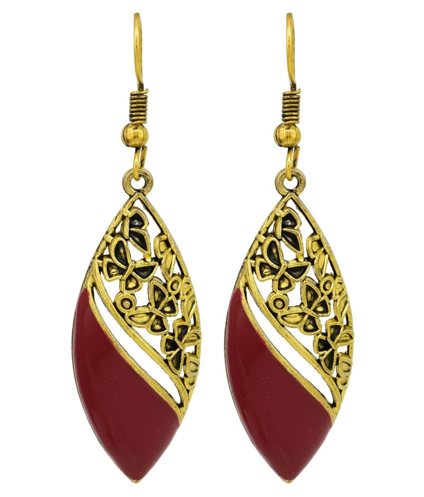 High Trendz Red Oxidised Stylish Fancy Party Wear Dangler Earrings For Women And Girls
