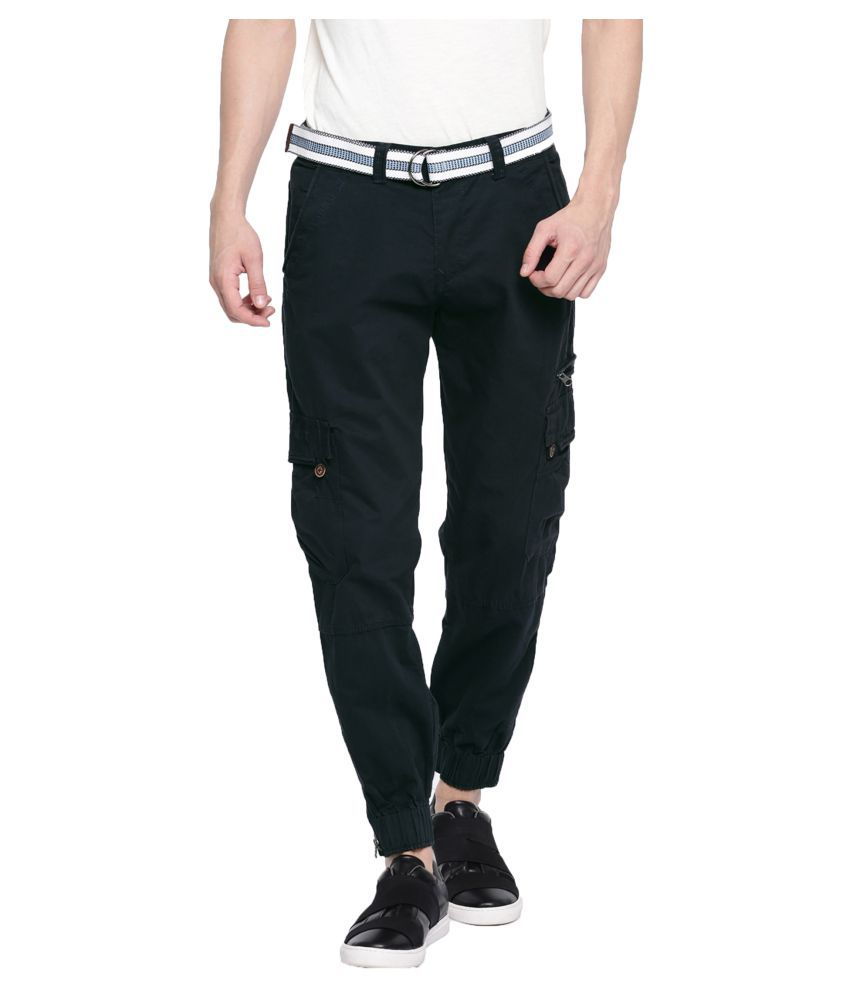 FIFTY TWO Navy Blue Slim -Fit Flat Cargos