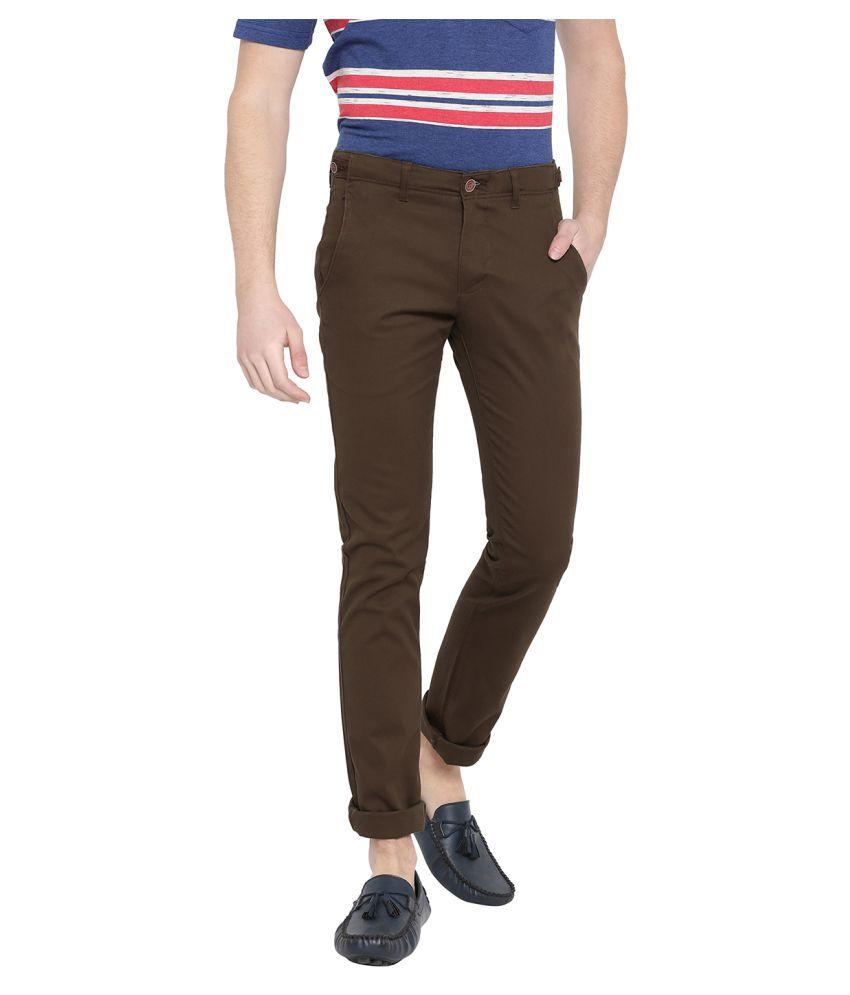 DUKE Brown Slim -Fit Flat Trousers