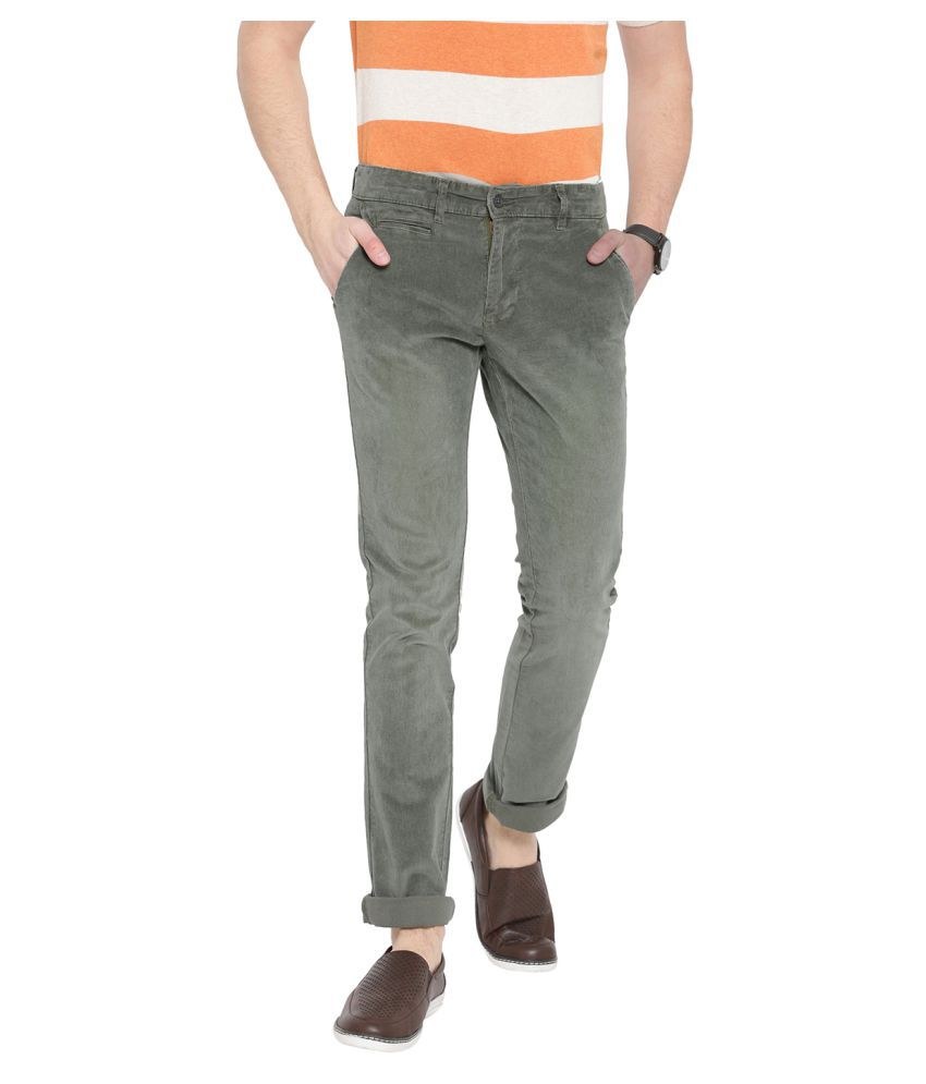 DUKE Dark Green Slim -Fit Flat Trousers