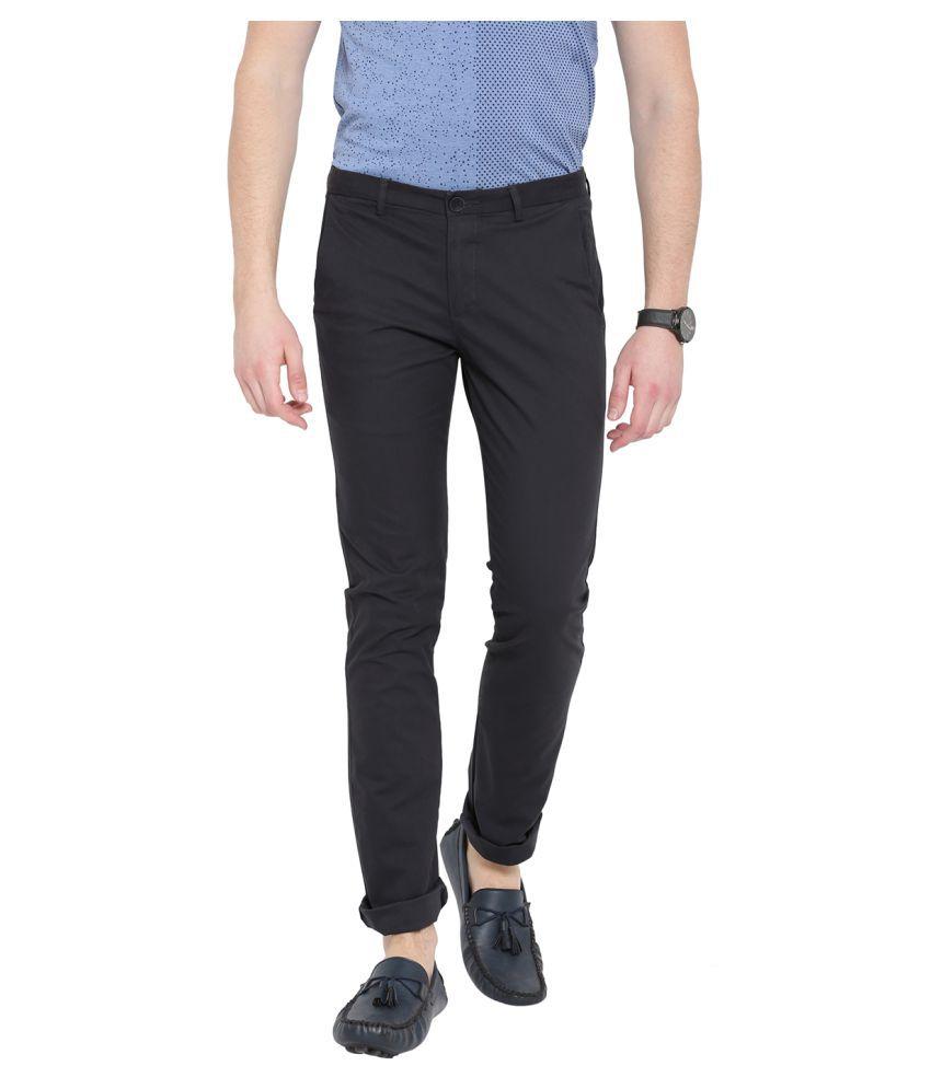 DUKE Navy Blue Slim -Fit Flat Trousers