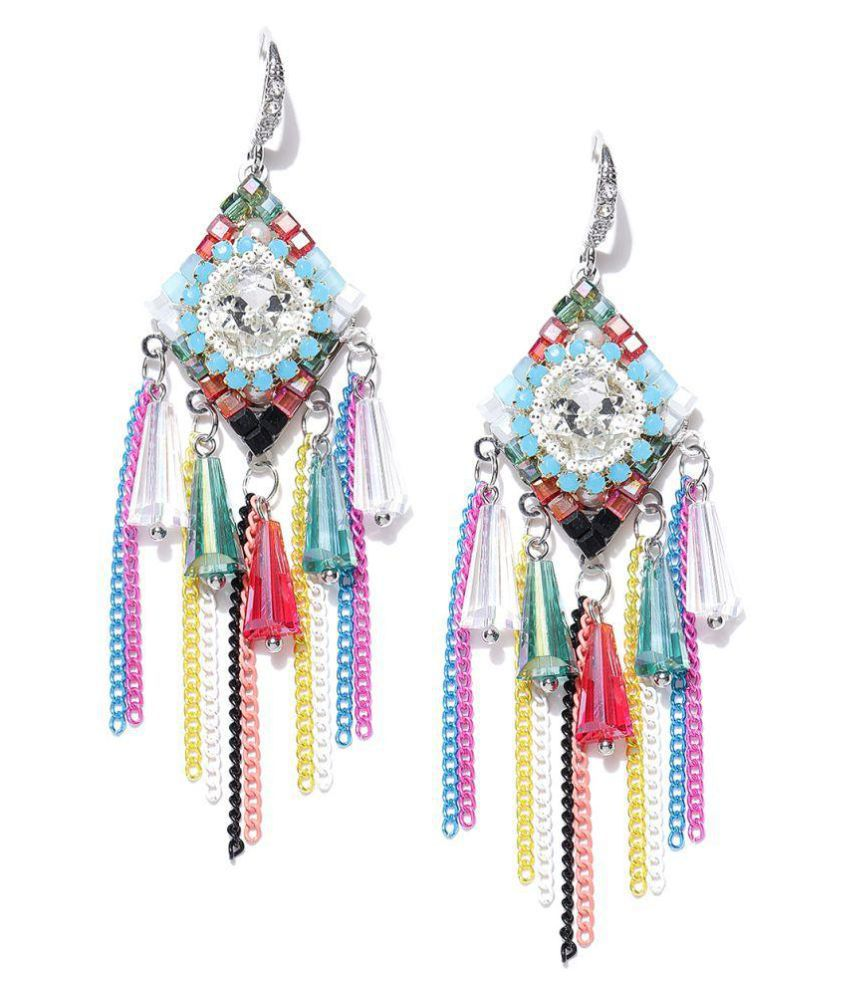 Jewels Galaxy Limited Edition Delicate Design Tantallizing Colors Magnificient Platinum Onyx Tassel Earrings For Women/Girls