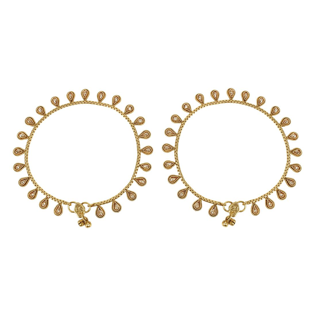 MUCH MORE Amazing Gold Plated Crystal Payal Indian Anklet Party Wear Jewellery for Women's