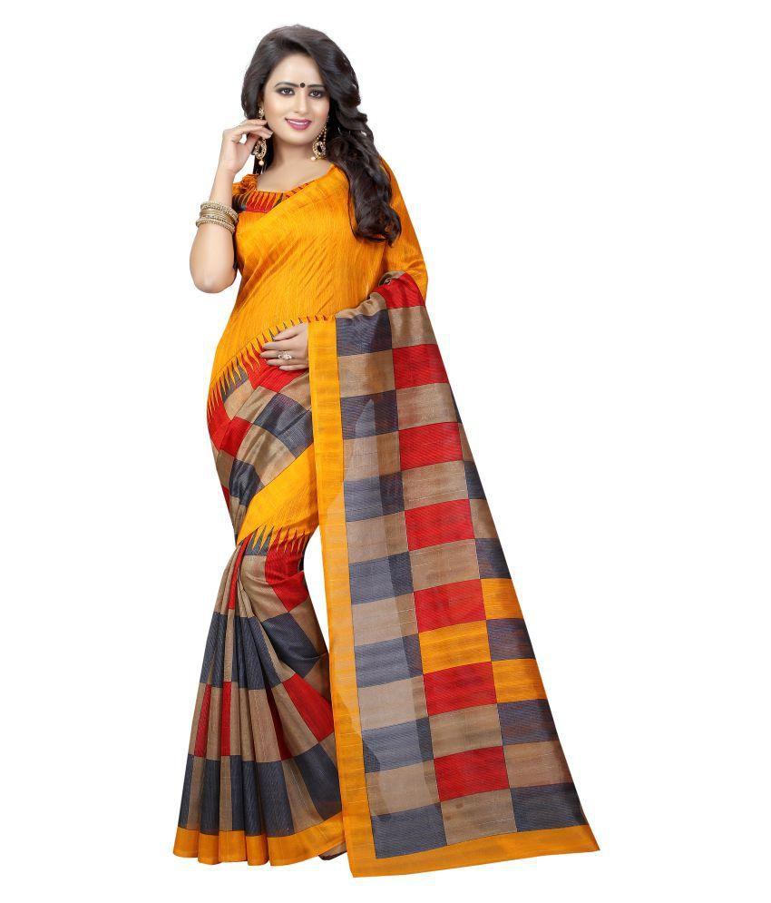 SHREE RAJLAXMI SAREES Orange Bhagalpuri Silk Saree