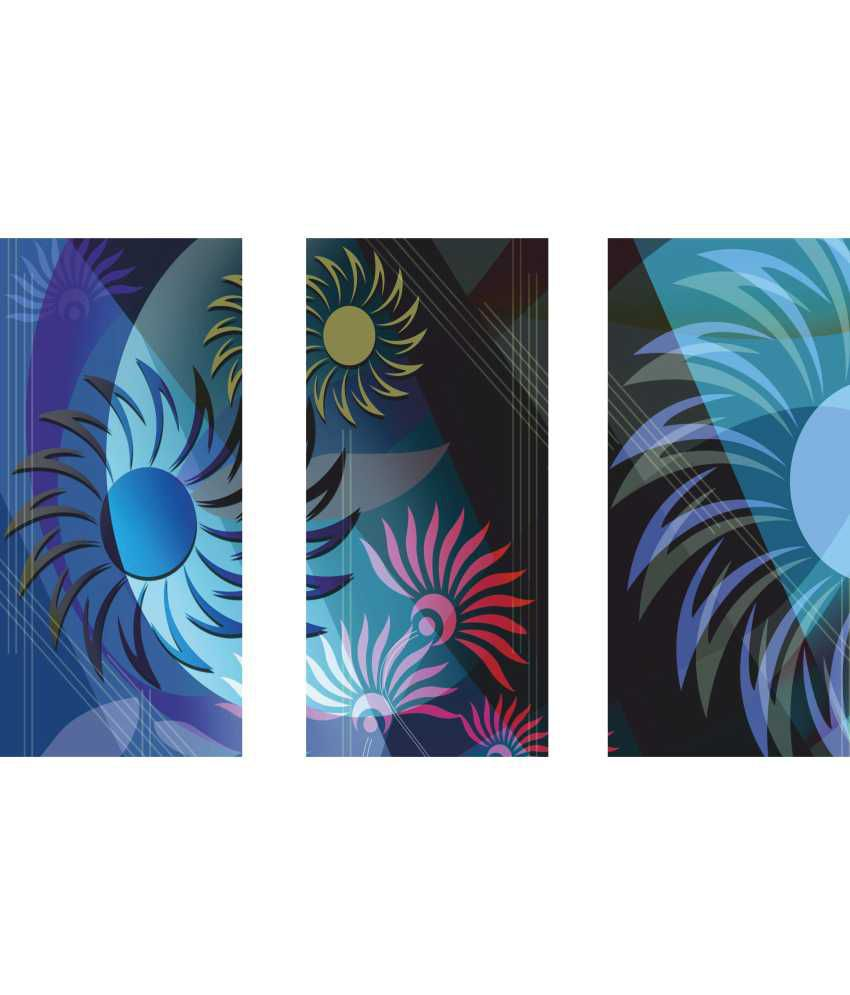 Anwesha's Blue Floral 3 Frame Split Effect Digitally Printed Canvas Painting With Frame
