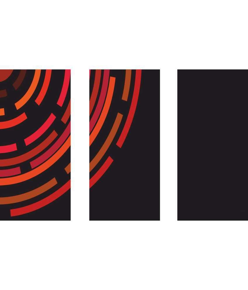 Anwesha's Radium Lines 3 Frame Split Effect Digitally Printed Canvas Painting With Frame