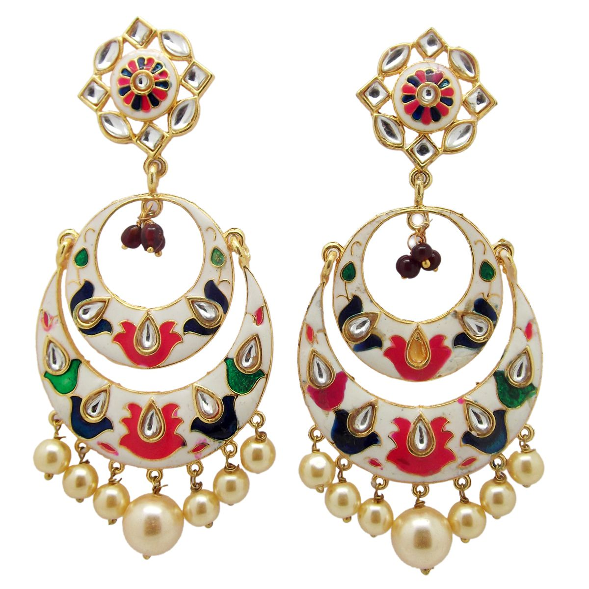 Biyu Kundan Meenakari Hand Painted Pearl White Chandbali Earrings
