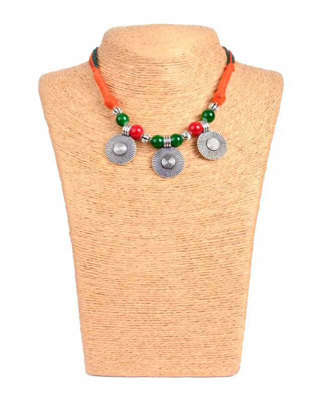 Fashions Thread Oxidized Set Orange Green Combination Silver Metallic-Glossy Finish For Women Girls