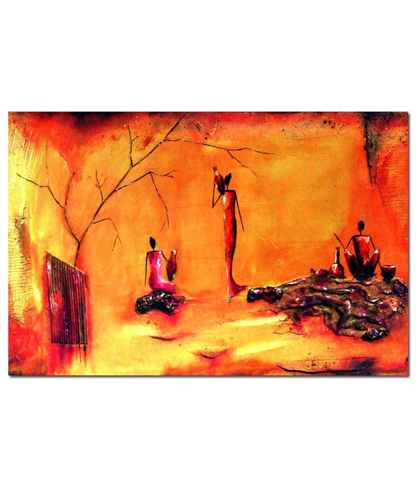 Anwesha's Gallery Wrapped Digitally Printed 30X20 Inch Abstract Oil Canvas Painting With Frame