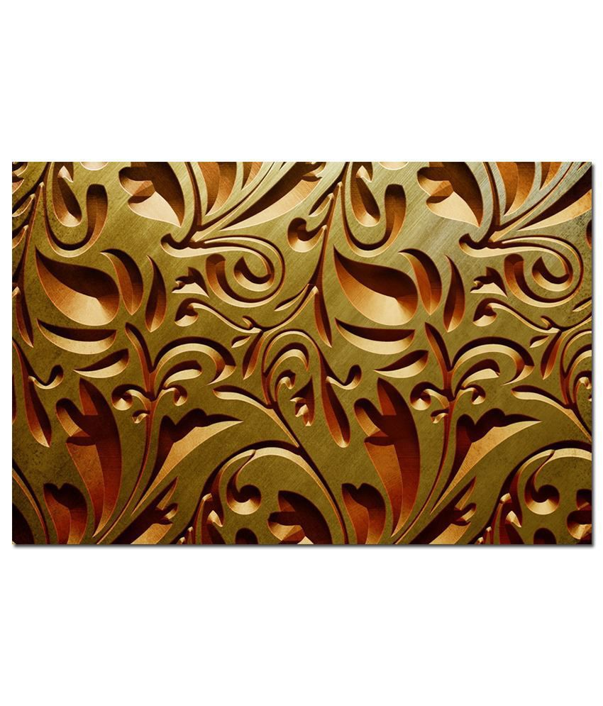 Anwesha's Gallery Wrapped Digitally Printed 30X20 Inch Golden Leaves Canvas Painting With Frame
