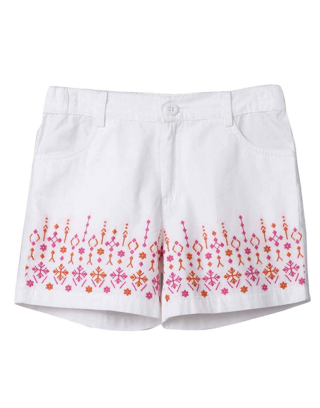 White Embroidery Shorts White 7Y