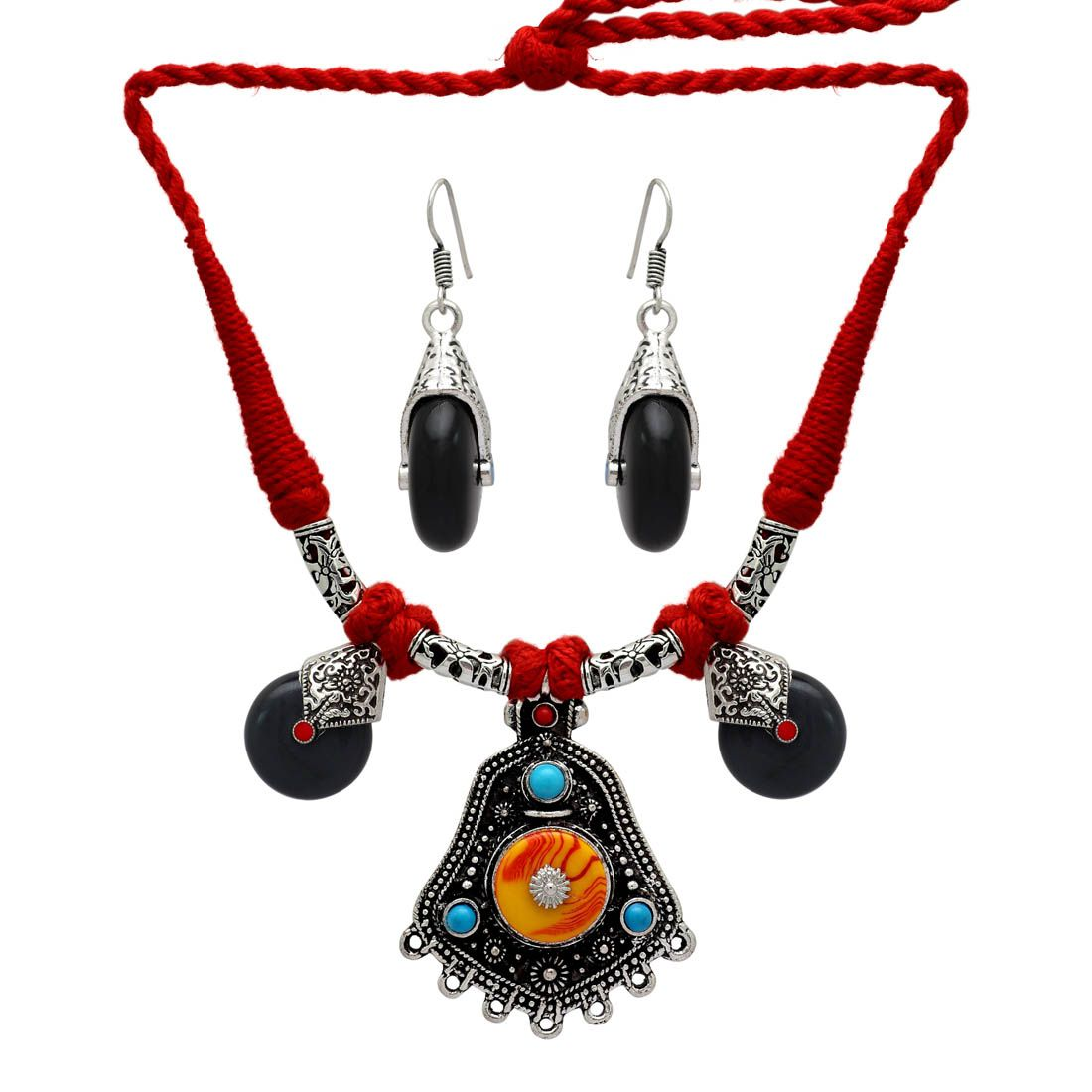 Partywear Collection Multi Color Stone Nepali Necklace With Earrings