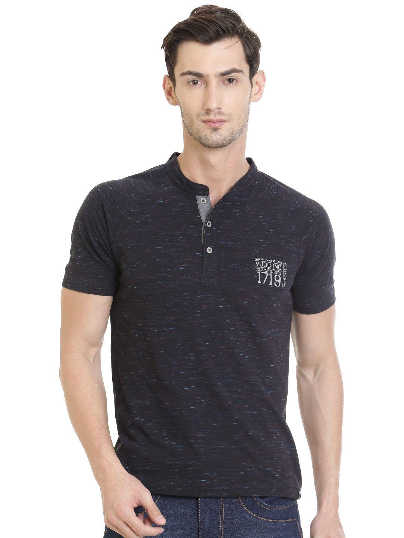 VUDU Black Henley T-Shirt
