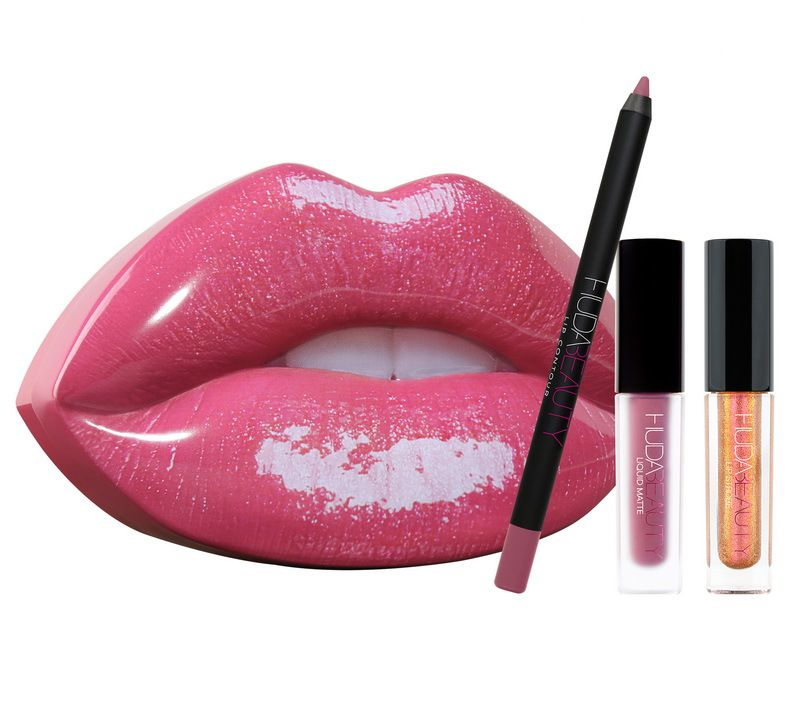 Huda Beauty 1 Contour & 2 Lipstick Set With Lip Box ...