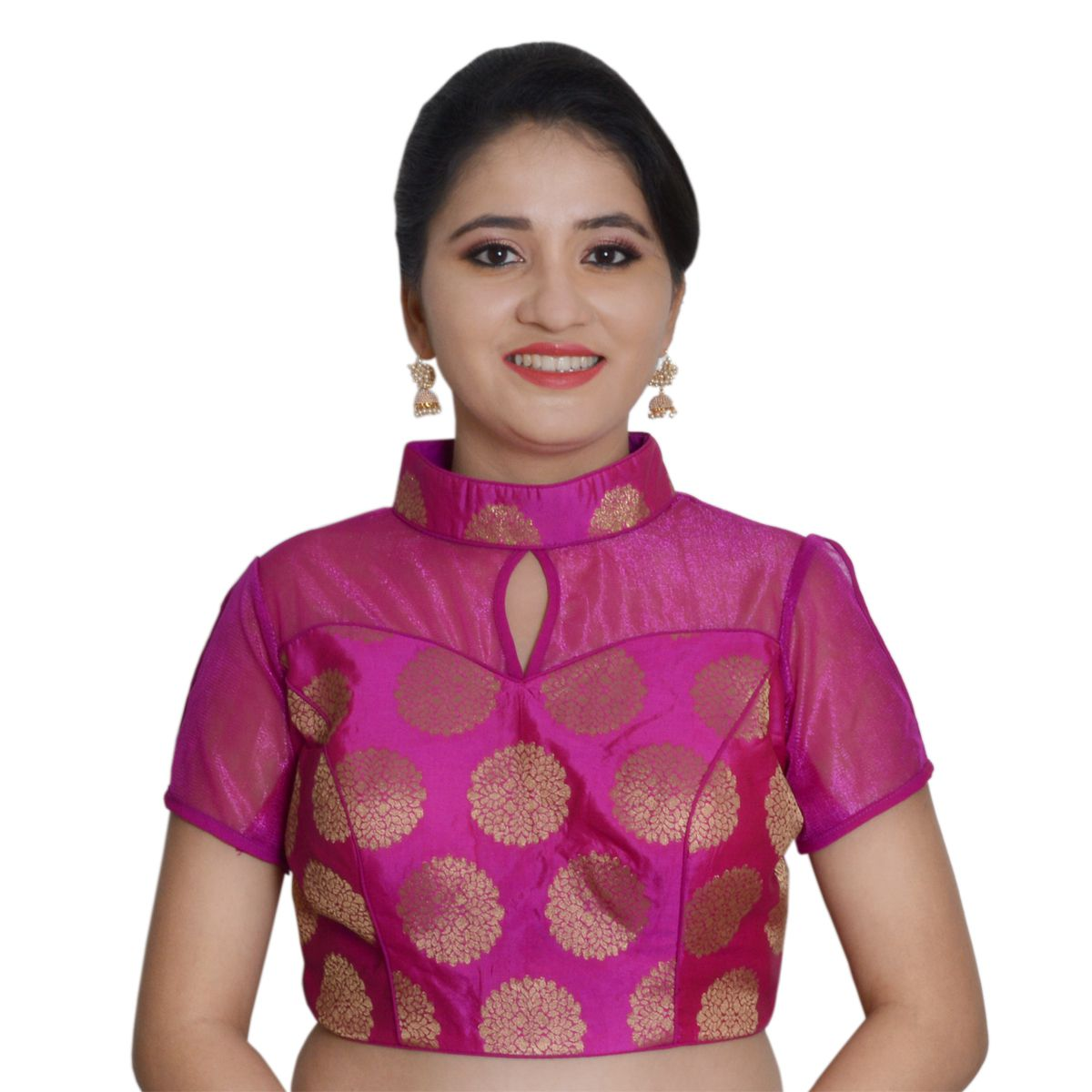 NAMI Pink Silk Readymade with Pad Blouse