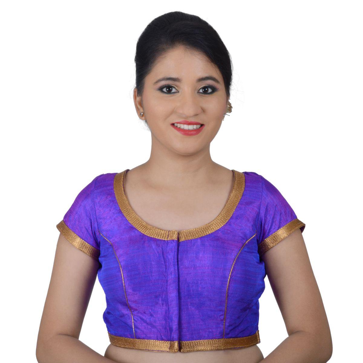 NAMI Purple Silk Readymade with Pad Blouse