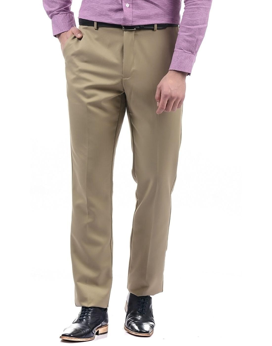 Arrow Beige Regular -Fit Flat Trousers