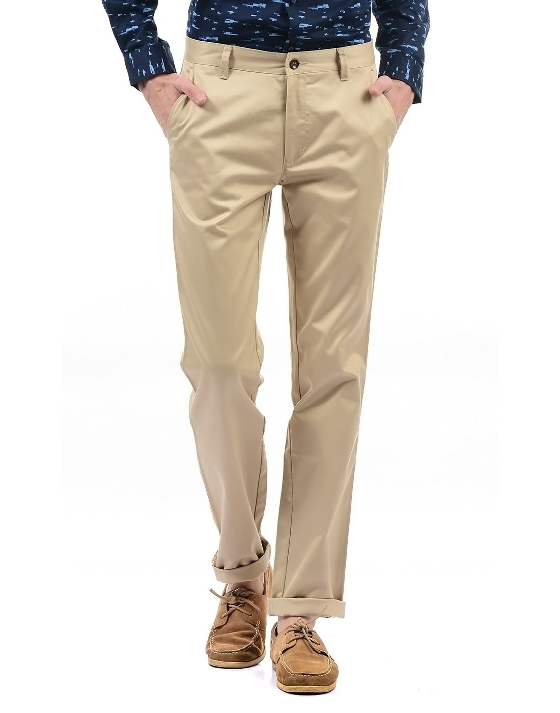 Arrow Beige Regular -Fit Flat Trousers