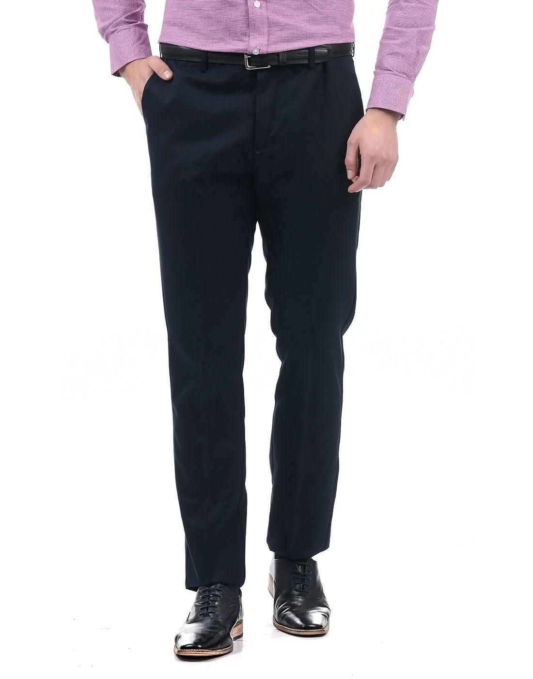 Arrow Dark Blue Regular -Fit Flat Trousers