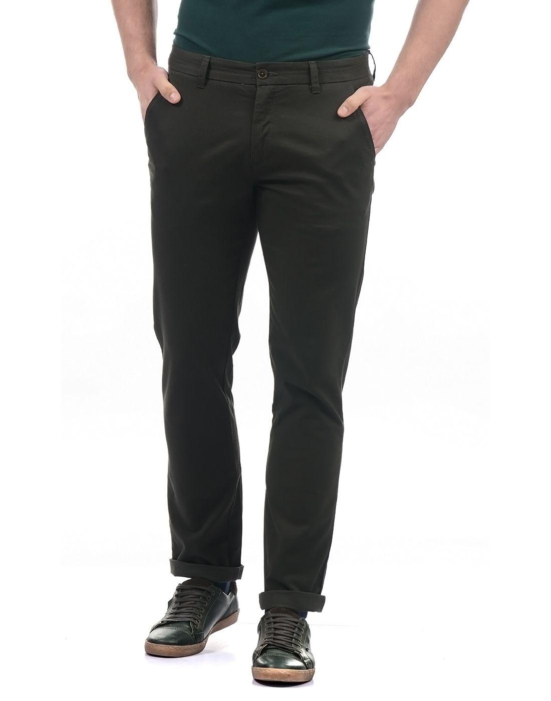 Arrow Dark Green Regular -Fit Flat Trousers