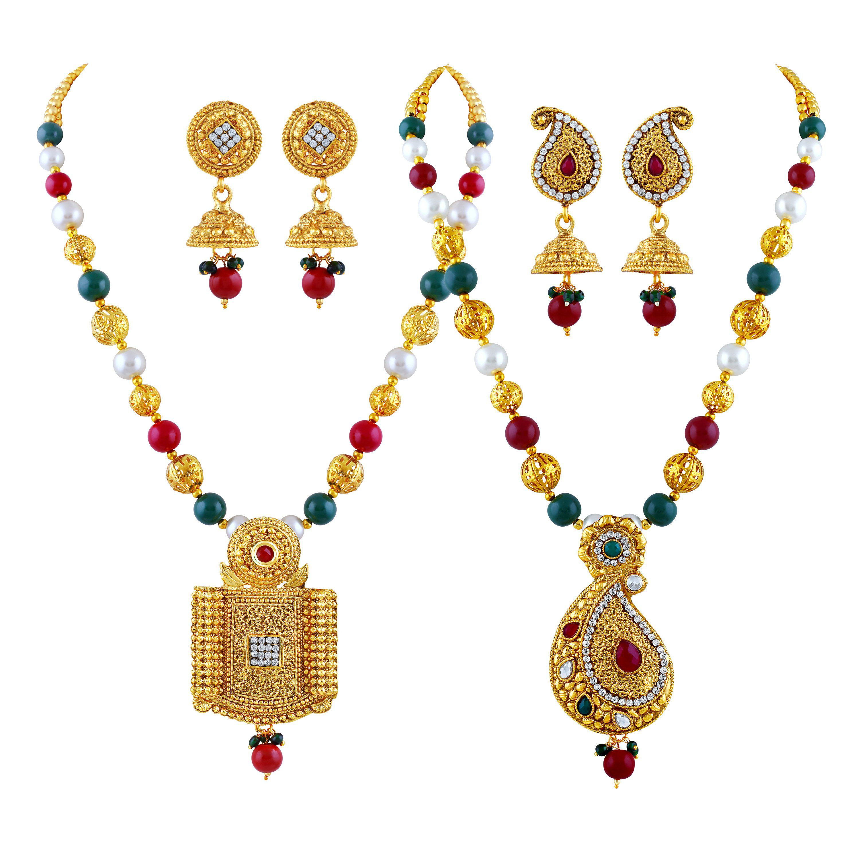 Asmitta Shimmering White Stone Gold Plated Matinee Style Set Of 2 Necklace Mala For Women