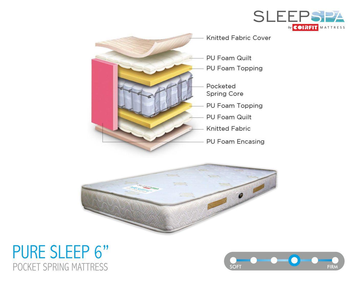 sleep spa pure sleep pocket 6 inches orthopedic spring mattress