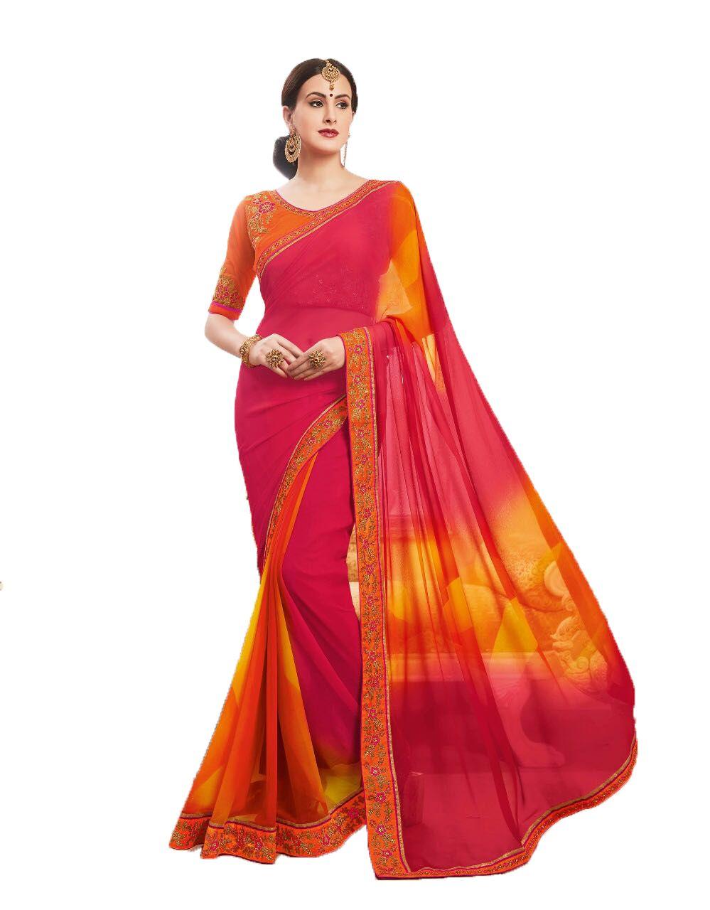 Sadhana Impex Multicoloured Georgette Saree