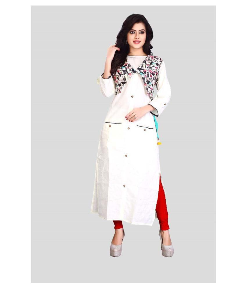 future india White Cotton Double Layered Kurti