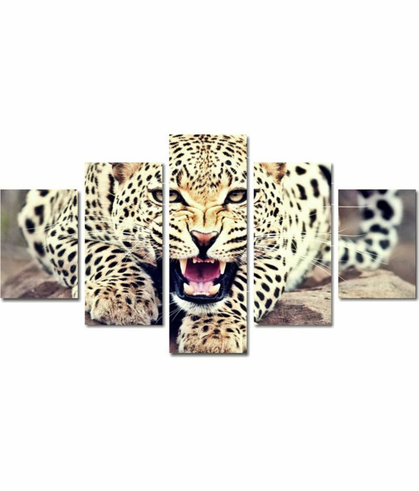 Anweshas 5 Panel Stretched Digitally Printed Canvas Painting With Frame