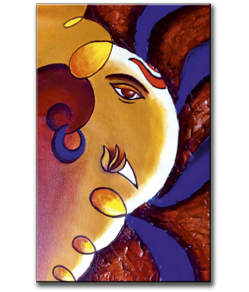 Anweshas Gallery Wrapped Digitally Printed 12.5 X 20 Inch - Ganesh Canvas Painting With Frame