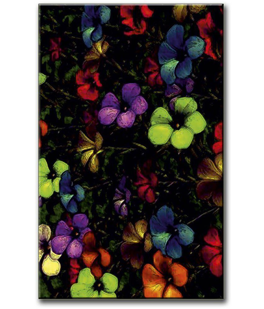 Anweshas Gallery Wrapped Digitally Printed 12.5 X 20 Inch - Flower Paint Canvas Painting With Frame