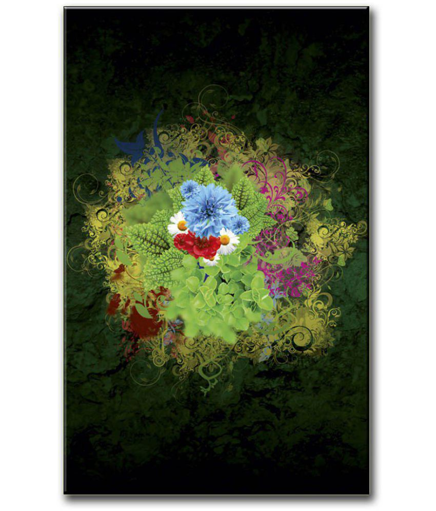 Anweshas Gallery Wrapped Digitally Printed 12.5 X 20 Inch - Green Flower Canvas Painting With Frame