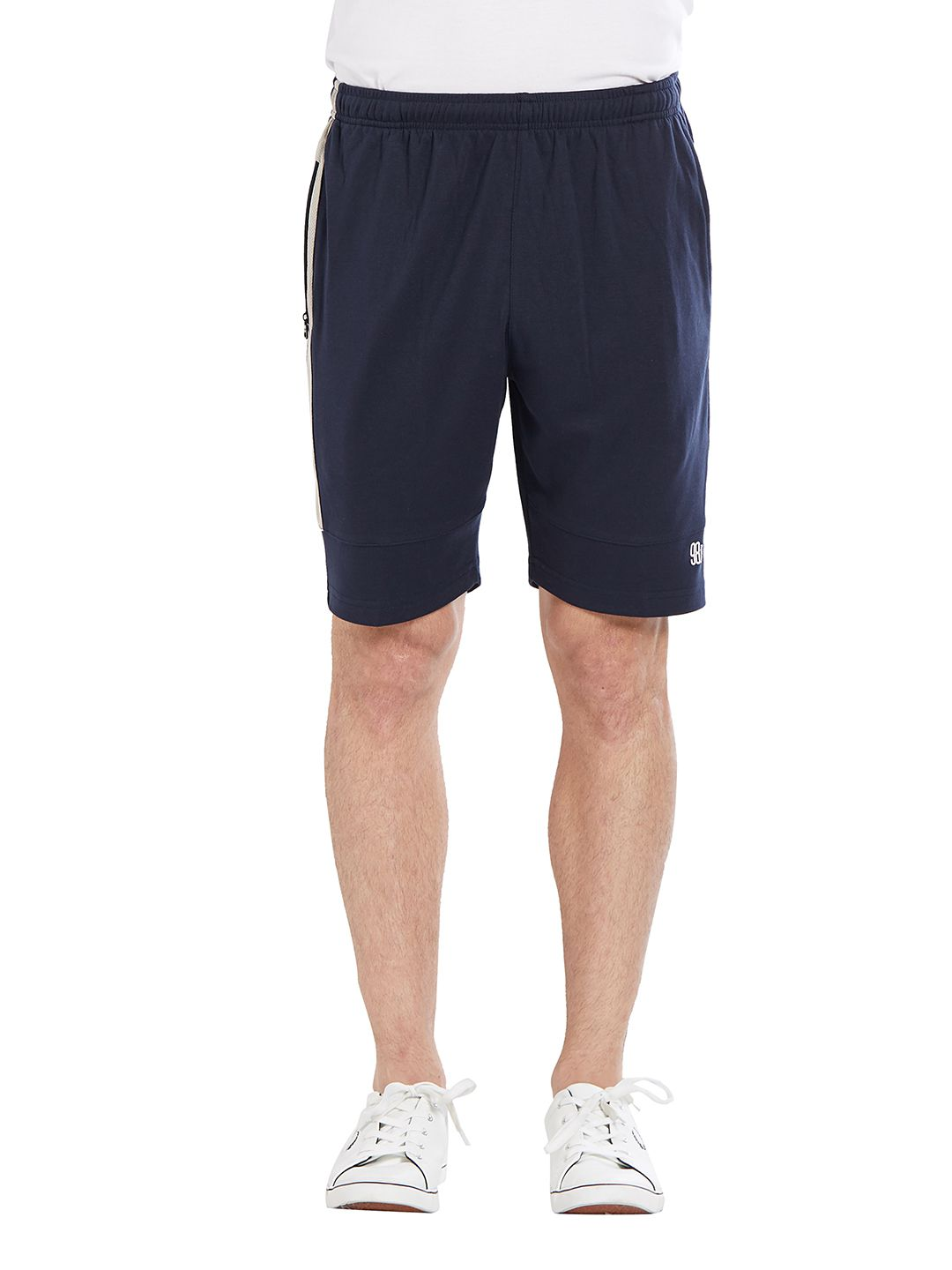 BONATY Navy Blue Blended Cotton Solid  Shorts For Men