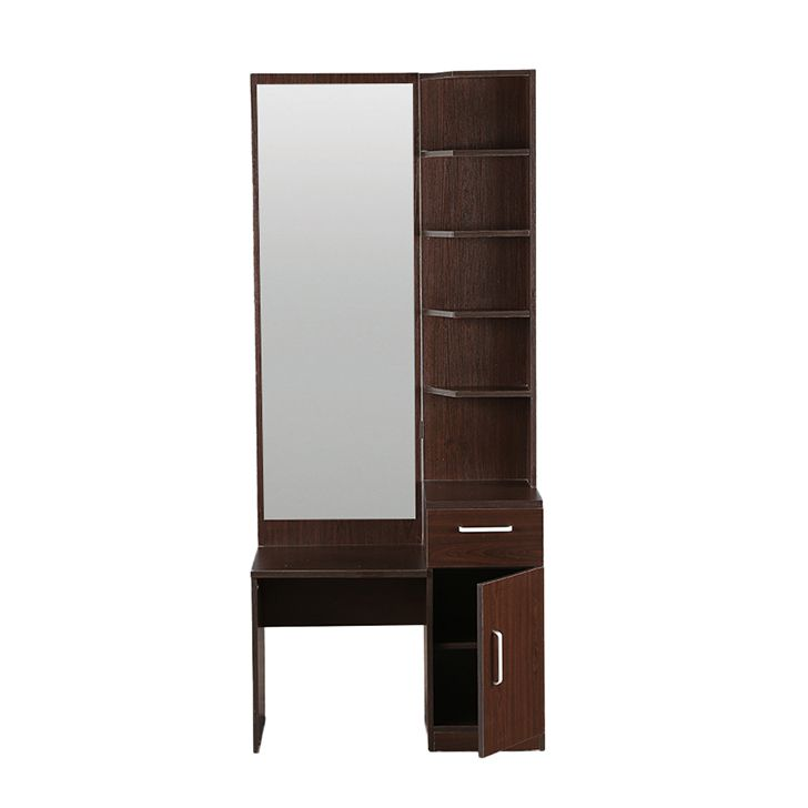 Winger Teak Wood Dressing Table In Walnut Finish Without Stool