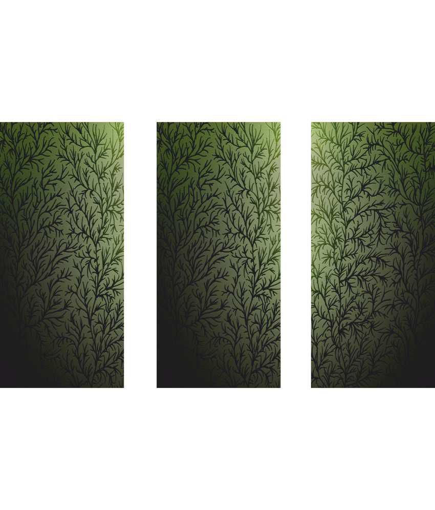Anwesha's Green Floral 3 Frame Split Effect Digitally Printed Canvas Painting With Frame