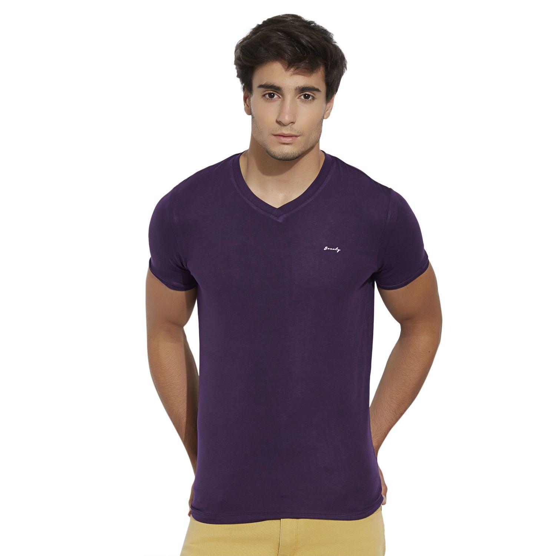 BONATY Purple Micro Modal  V-Neck Half Sleeves Solid T-Shirt For Men