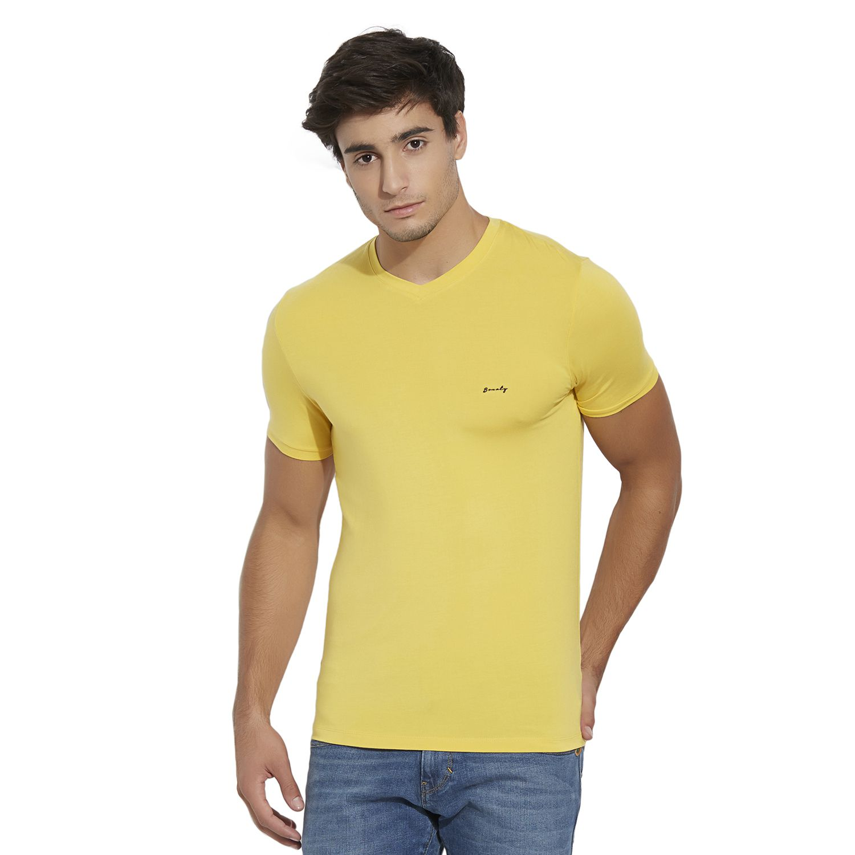 BONATY Yellow Micro Modal  V-Neck Half Sleeves Solid T-Shirt For Men
