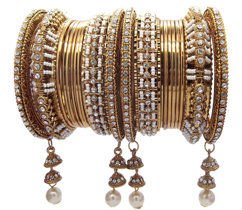 Biyu Wedding 20pc Bridal Antique Gold Plated Pearl Latkan Jhumka Chuda