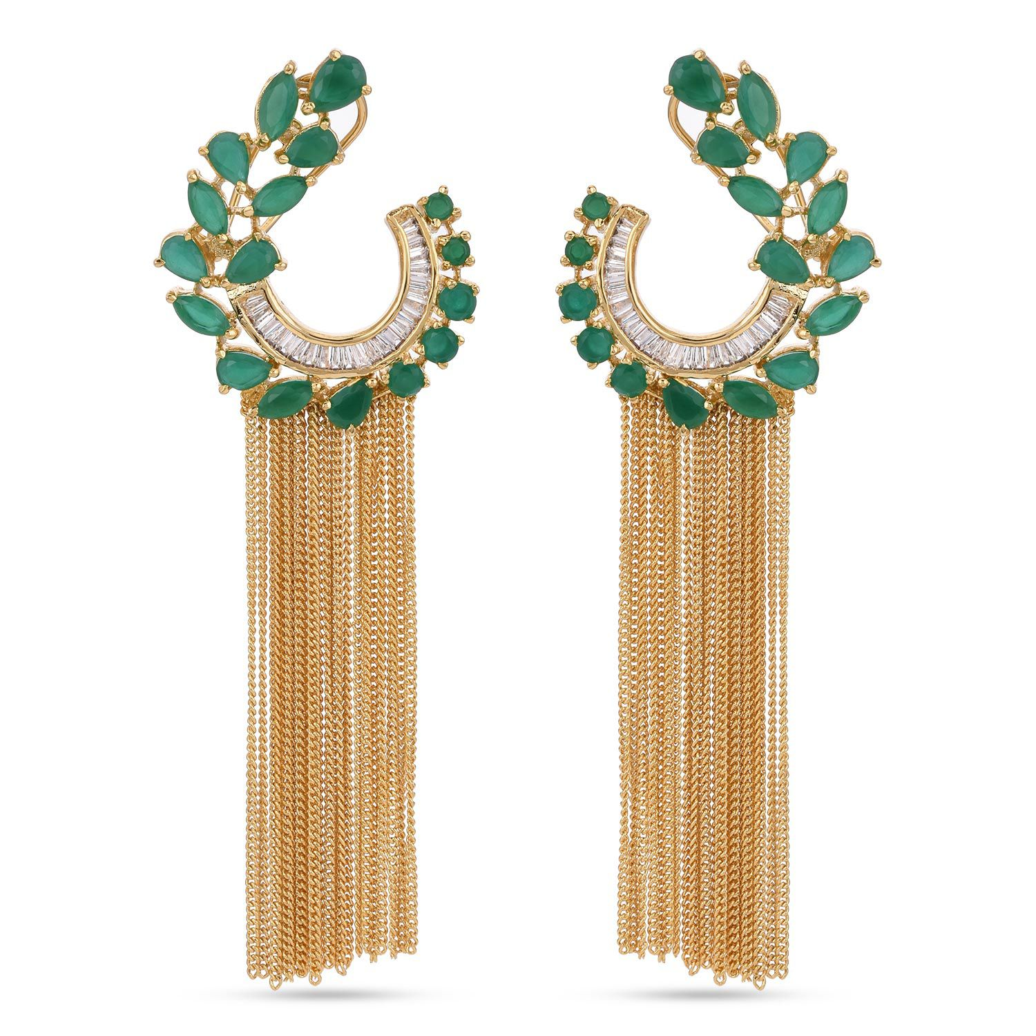 Tistabene Floral Modern Colored Stone Latest Trendy Party Wear Dangler For Women and Girls (ER-3248)