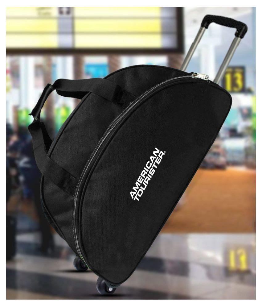 American Tourister Solid Black Trolley Duffle Bag (Medium)