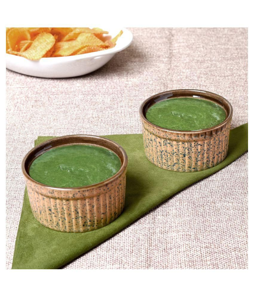 Unravel India ceramic grey & brown studio chutney bowl set (Set of 2)