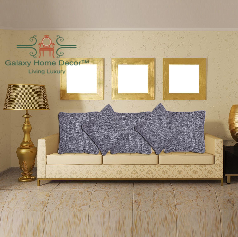 Galaxy Home Decor Set of 5 Jute Cushion Covers 40X40 cm (16X16)