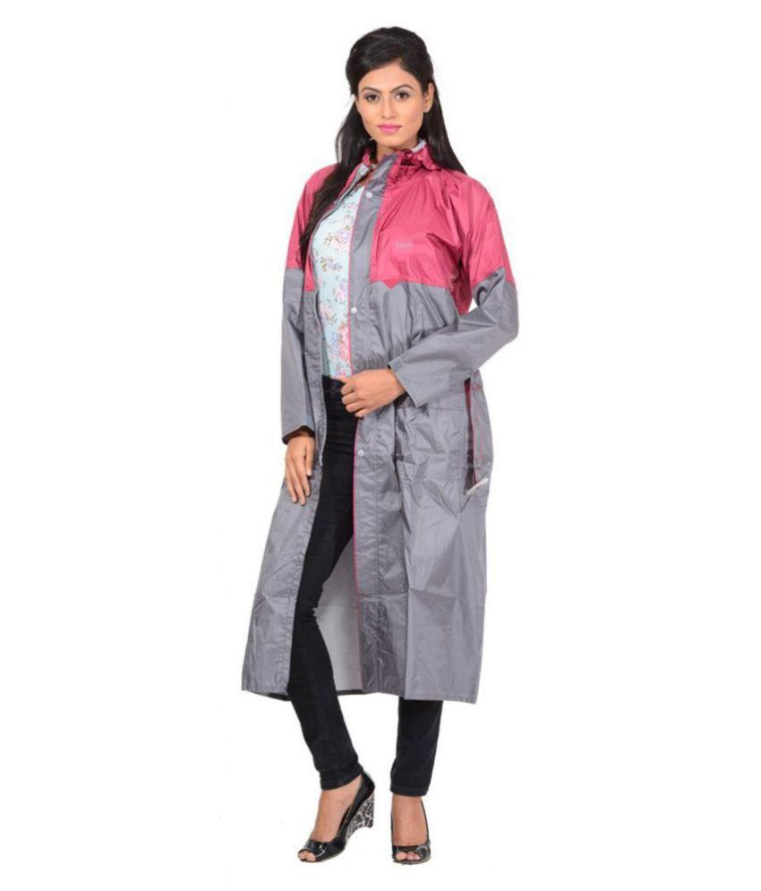 NiceG Nylon Long Raincoat - Grey