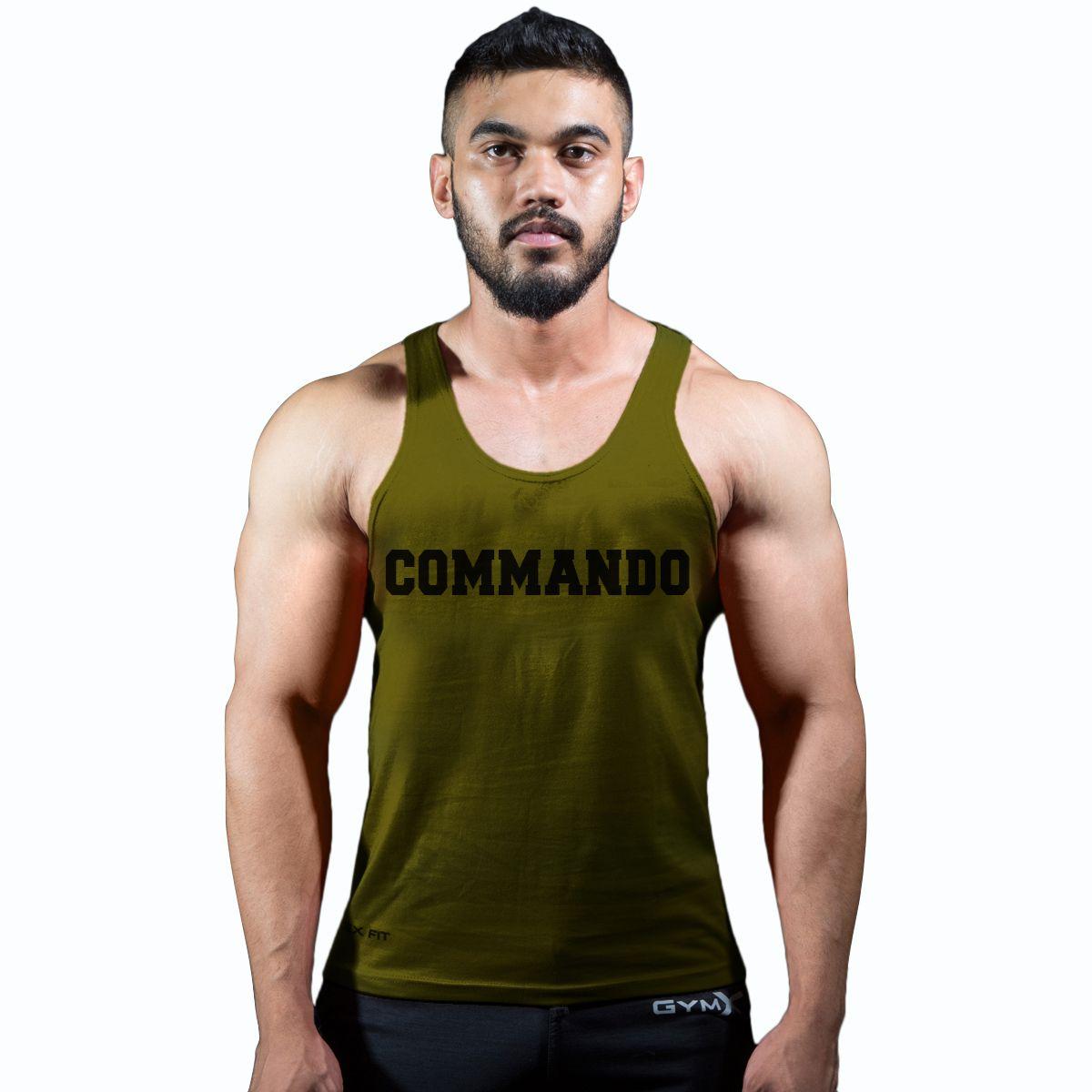 GymX Mens Cotton Commando Military Green- Classic Stringer