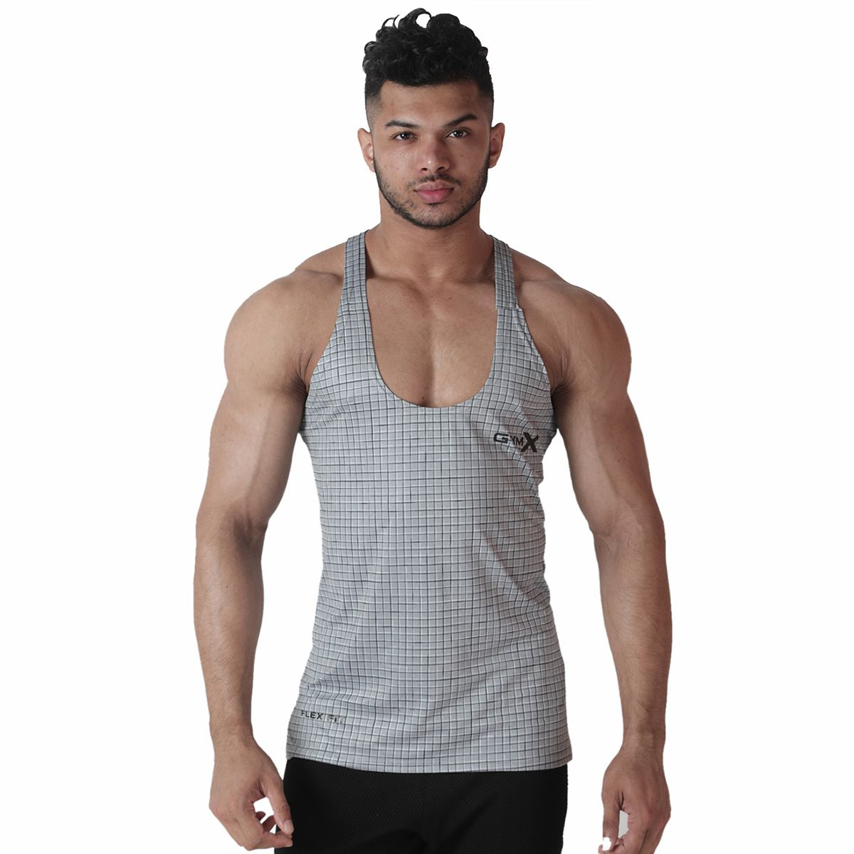 GymX Mens Polyester Axiom Stringer- Platinum Strike  Grey Sando