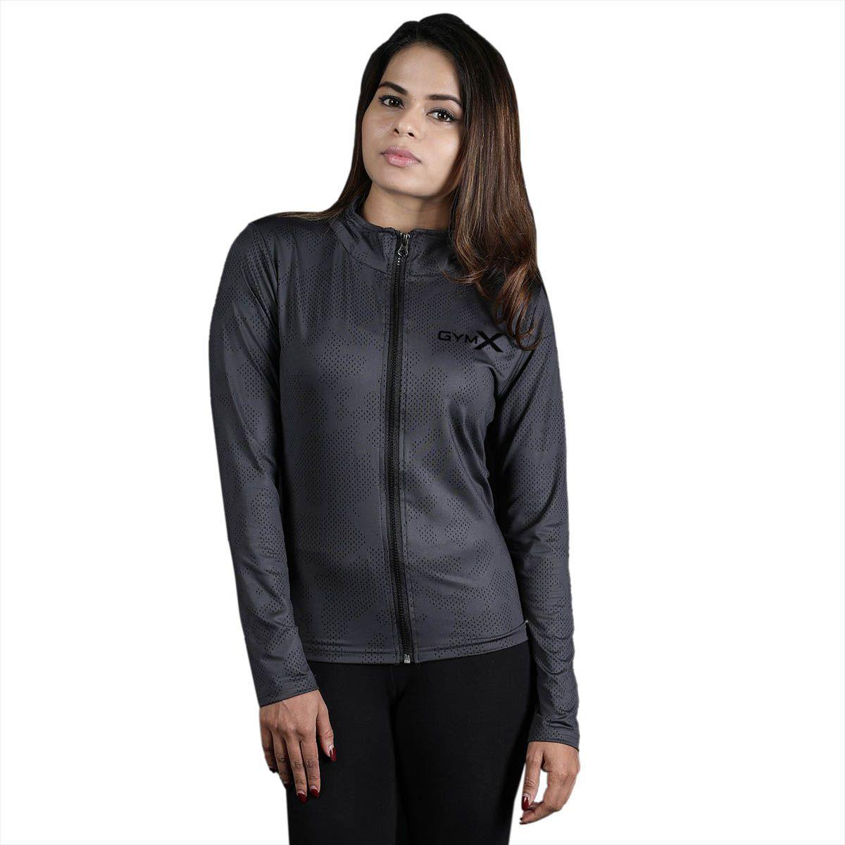 GymX Womens Royal Grey Full Zip Jacket- Athena Series