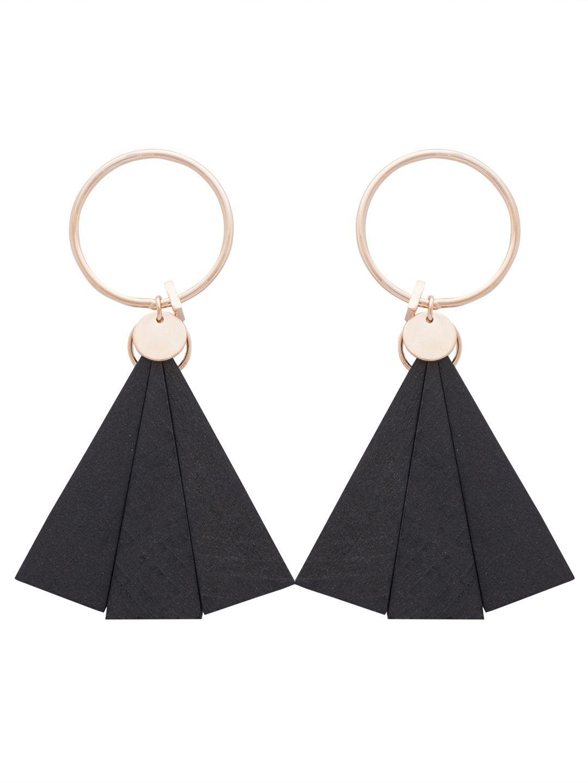 Evening gown black & rose gold danglers- Italian