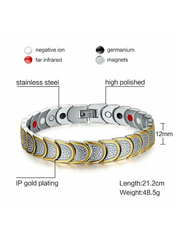 Fashion9 Energy Health Bracelate, Stainless Steel Rose Gold Titanium Charm  Bracelet