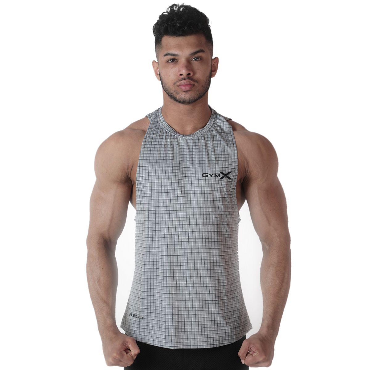 GymX Mens Polyester Axiom Tank- Platinum Strike Grey Sando (Size:XX-Large)